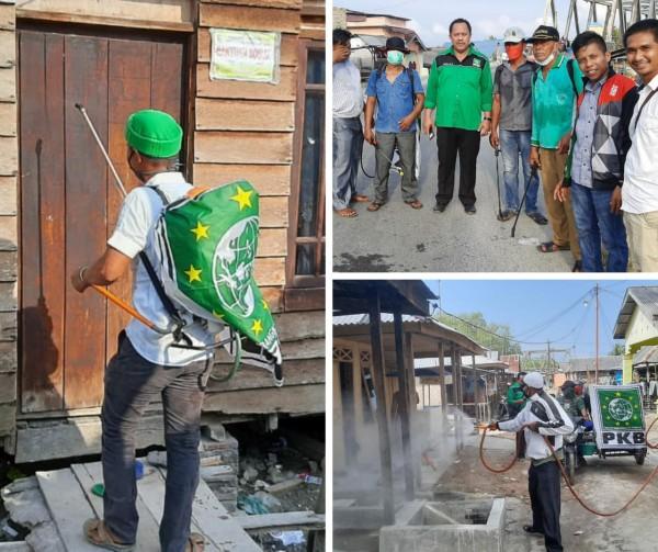 Cegah Covid-19, DPC PKB Kabupaten Batu Bara Semprot Disinfektan ke Rumah Warga