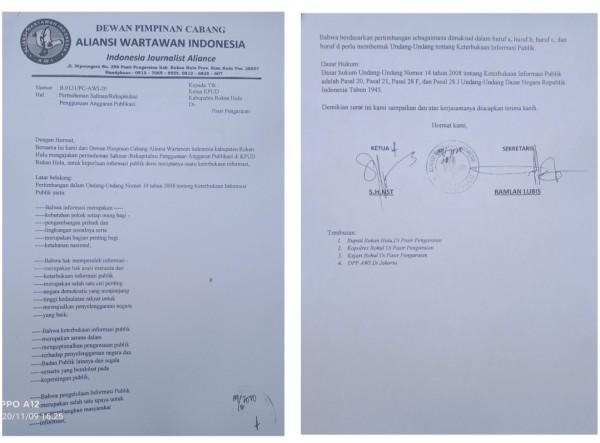 DPC-AWI Surati Ketua KPUD Rohul, Terkait Alokasi Dana Publikasi Pilkada