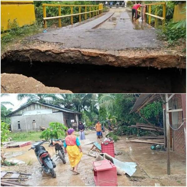 Sungai Kaiti Meluap, Beberapa Rumah Warga Terendam Banjir, Akses Jalan Ke Kantor Desa RTB Terputus