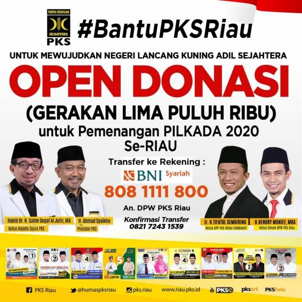 PKS Riau Open Donasi Galibu Pemenangan Pilkada 2020