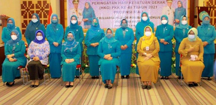 Ketua TP PKK Siak Hadiri Peringatan HKG PKK ke-49 Tingkat Provinsi Riau Tahun 2021