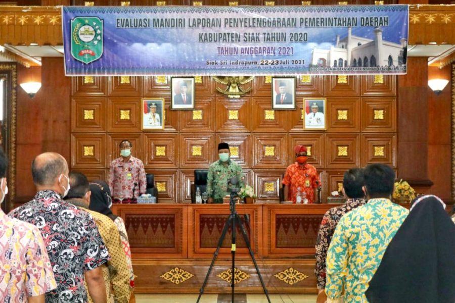 Wakil Bupati Siak Husni Merza Membuka Kegiatan Evaluasi Mandiri LPPD Kabupaten Siak Tahun 2020