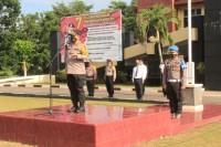 Polres Kuansing Melaksanakan Upacara Korps Raport Kenaikan Pangkat Pengabdian Perwira Polri